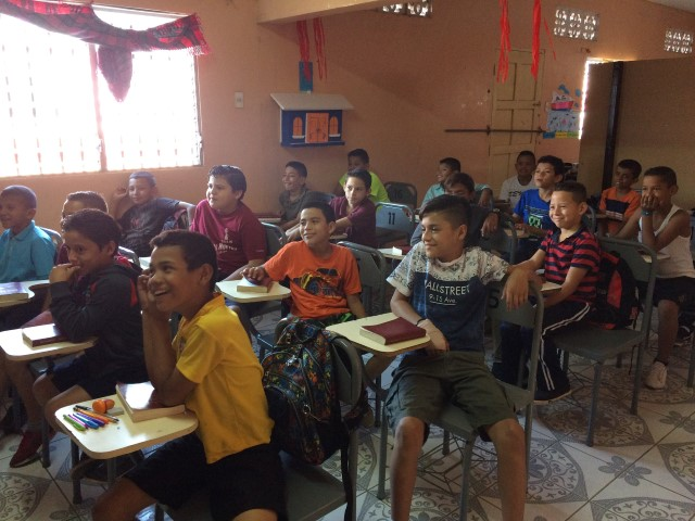 Classroom full of boys in Nicaragua